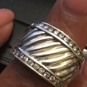 David Yurman Cable .925 Diamond Cigar Band Ring 6